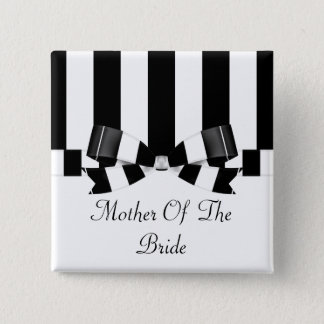 Black & White Striped Wedding Classic 15 Cm Square Badge