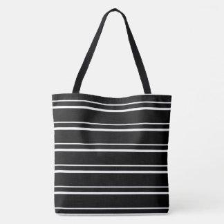 BLACK & WHITE STRIPED WOMEN'S TOTE BAG