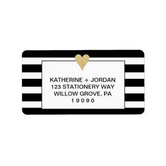 Black White Stripes and Gold Heart Wedding Address Label