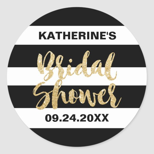 Black White Stripes and Gold Text Bridal Shower