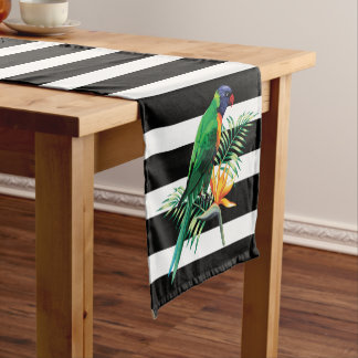 Black White Stripes And Parrot Short Table Runner