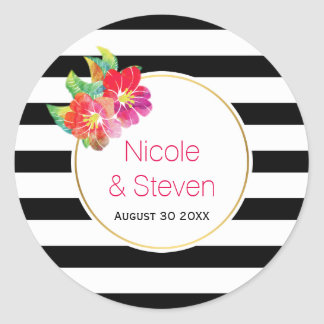Black white stripes and watercolor flowers wedding round sticker