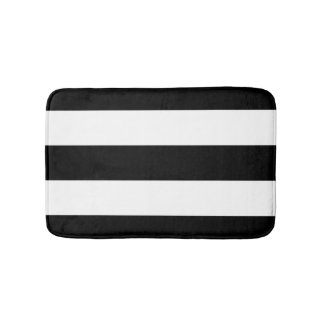 Black White Stripes Bath Mat