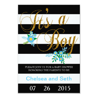Black & White Stripes | Blue Floral | Baby Shower 9 Cm X 13 Cm Invitation Card