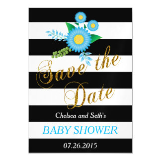 Black & White Stripes | Blue Floral | Baby Shower Magnetic Invitations