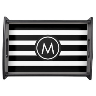 Black/White Stripes Custom Monogram Serving Tray