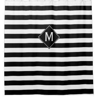 Black & White Stripes & Diamond Monogram Shower Curtain