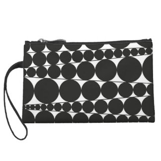 Black & White Stripes & Dots Wristlet