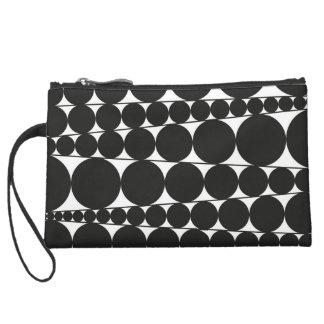 Black & White Stripes & Dots Wristlet Clutch