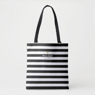 Black & White Stripes Fleur de Lis Tote Bag