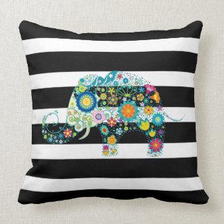 Black & White Stripes & Floral Elephant Cushion