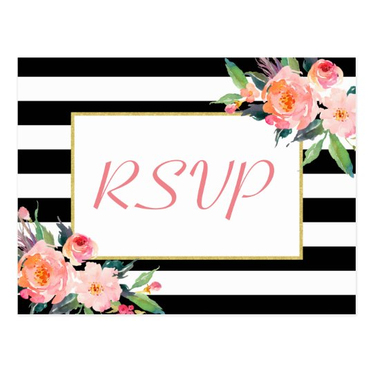Black White Stripes Floral Gold Wedding RSVP Reply