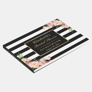 Black White Stripes Floral Wedding Bridal Shower Guest Book