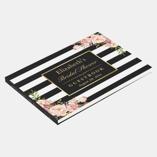 Black White Stripes Floral Wedding Bridal Shower Guest