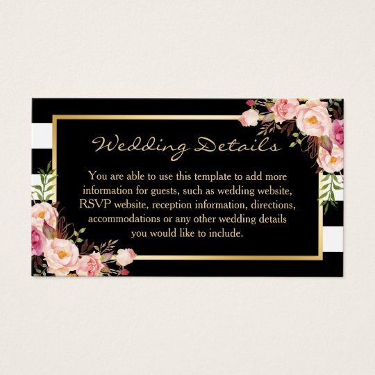 Black White Stripes Floral Wedding Insert Card