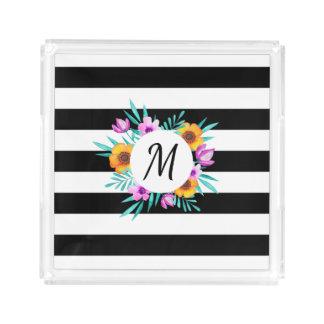 Black & White Stripes Floral Wreath Monogram Acrylic Tray