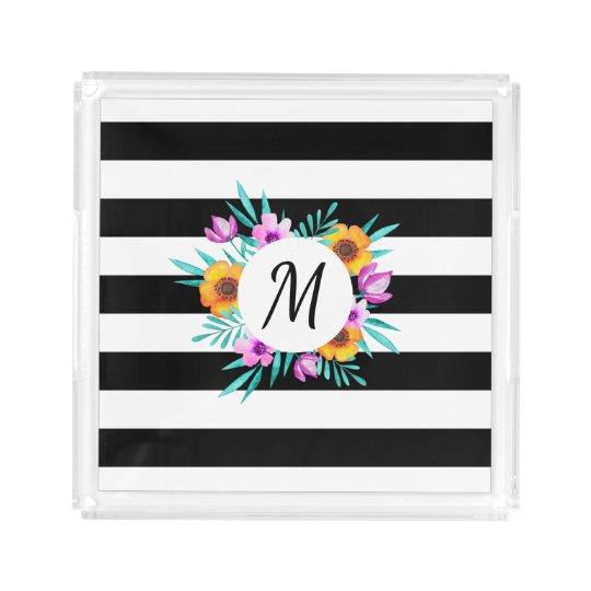 Black & White Stripes Floral Wreath Monogram Acrylic