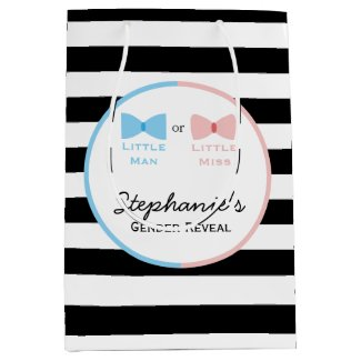 Black, White Stripes Gender Reveal Bow and Bow Tie