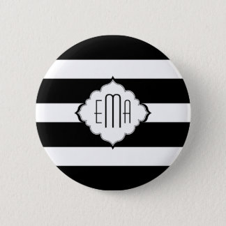 Black & White Stripes Geometric Pattern 2 6 Cm Round Badge