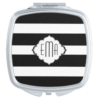 Black & White Stripes Geometric Pattern 2 Travel Mirror