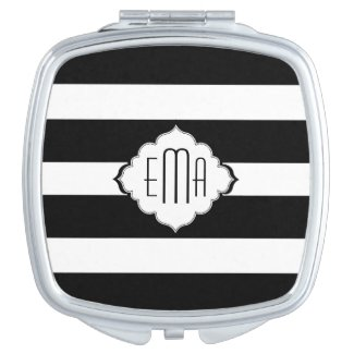 Black & White Stripes Compant Mirror