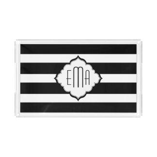 Black & White Stripes Geometric Pattern Acrylic Tray