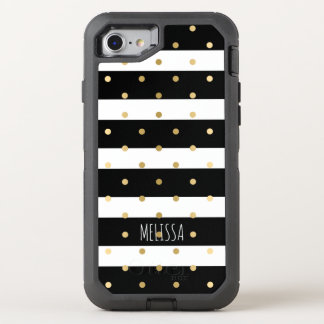 Black & White Stripes Gold Polkadots Pattern OtterBox Defender iPhone 8/7 Case