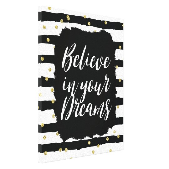 Black White Stripes Gold Sparkly Confetti Dreams Canvas