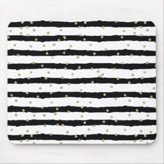 Black White Stripes Gold Sparkly Confetti Mouse Mat