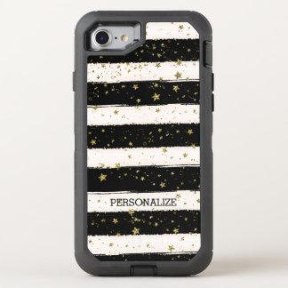 Black White Stripes Gold Stars OtterBox Defender iPhone 8/7 Case