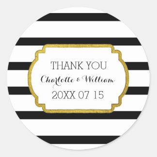 Black White Stripes Gold Wedding Favor Tags Round Sticker