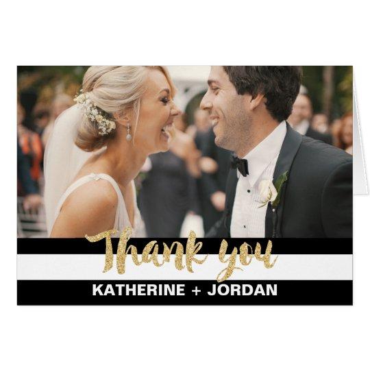 Black White Stripes & Gold Wedding Photo Thank