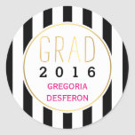 Black white stripes grad 2016 modern graduation round sticker