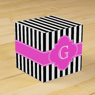 Black White Stripes, Hot Pink Quatrefoil Monogram Favour Box