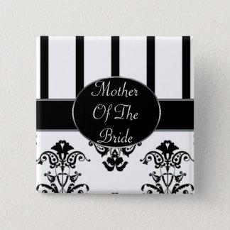 Black & White Stripes, Monogram Baroque 15 Cm Square Badge