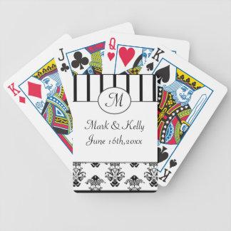 Black & White Stripes, Monogram Baroque Bicycle Playing Cards