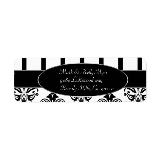 Black & White Stripes, Monogram Baroque Return Address Label