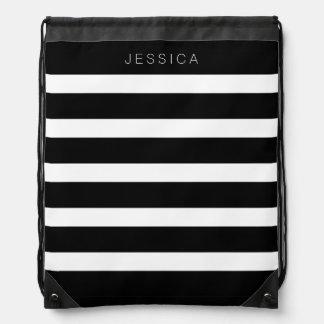 Black & White Stripes Pattern Backpack