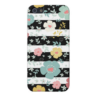 Black & White Stripes Pattern Colorful Flowers 3 iPhone 5 Cases