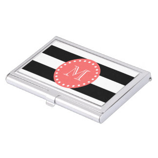 Black White Stripes Pattern, Coral Monogram Business Card Holder