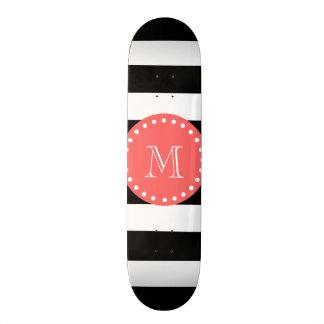 Black White Stripes Pattern, Coral Monogram Skate Board