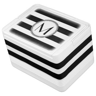 Black | White Stripes Pattern Monogram Igloo Cooler