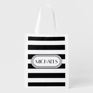 Black | White Stripes Pattern Monogram Reusable Grocery Bag