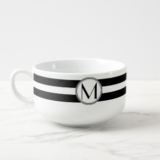 Black | White Stripes Pattern Monogram Soup Mug