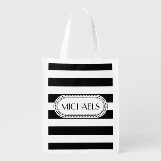 Black | White Stripes Pattern Monogram Grocery Bags