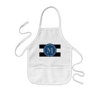 Black White Stripes Pattern, Navy Blue Monogram Apron