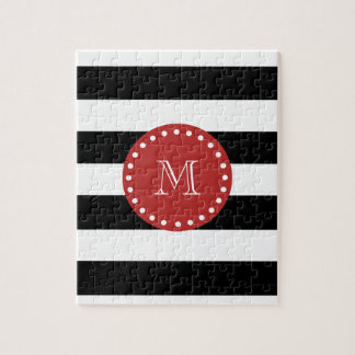Black White Stripes Pattern, Red Monogram Jigsaw Puzzle
