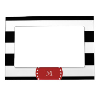 Black White Stripes Pattern, Red Monogram Magnetic Frame