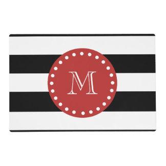 Black White Stripes Pattern, Red Monogram Laminated Placemat