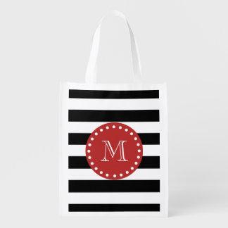 Black White Stripes Pattern, Red Monogram Reusable Grocery Bag